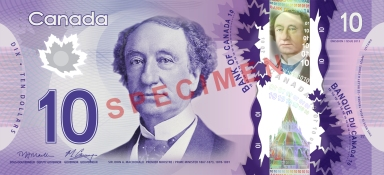 polymer 10 canadian dollar note obverse