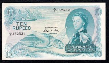 Seychelles banknotes 10 Rupees Queen Elizabeth